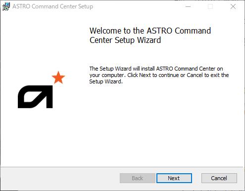 ASTRO Command Centerインストール開始画面