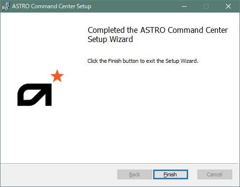 ASTRO Command Centerインストール完了画面